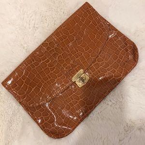 H&M patent faux leather camel clutch bag